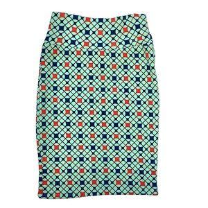 Lularoe Cassie Skirt Geo Print Blue Red XS NWT
